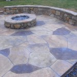 fire pit, custom patio and stone bench