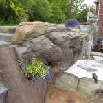 hardscape stairs, boulders and water feature ocean county nj